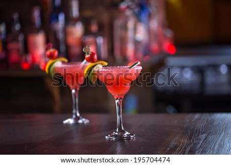 Two margarita cocktails on the bar