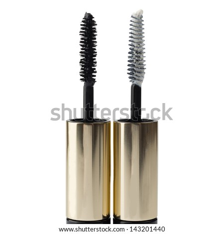 Two Mascara brushes isolated over white background