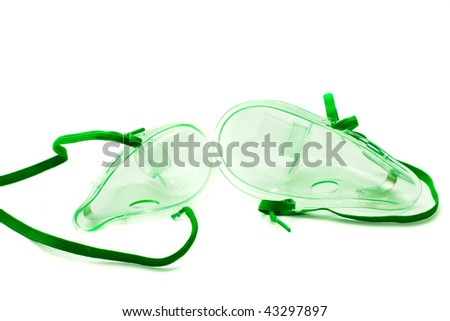 Two mask for inhalation of a closeup on a white background - stock photo