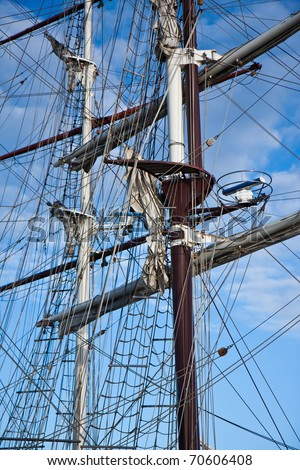 Two masts with rigging of big sailing vessels