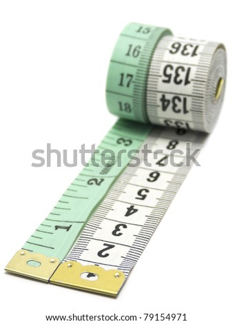Two measuring tapes isolated on white