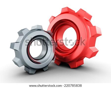 two mechanical cogwheel gears on white background. 3d render illustration - stock photo