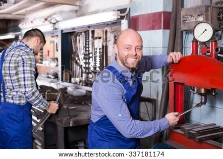 Men Working Tools Workshop Stock Photo 301755728