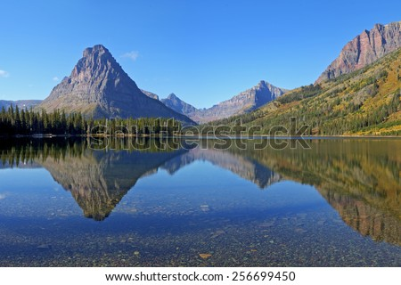 Two Medicine Lake in Two Medicine an Area of Glacier National Park, Montana. - stock photo