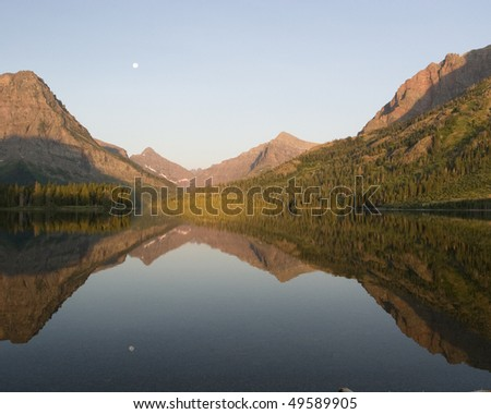 Two Medicine Lake reflection, Yellowstone