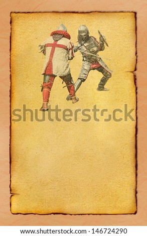 Two medieval knights fighting - retro postcard on vintage poster paper background