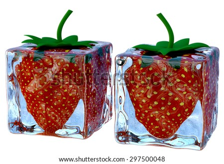 two melting ice cubes of a blue shade with a sweet ripe strawberries as a ingredient for dessert on white background