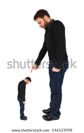 Two men accused against himself on white background - stock photo