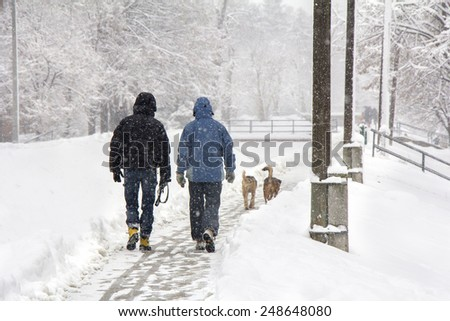 Two men and two dogs walking on snowy blizzard - stock photo