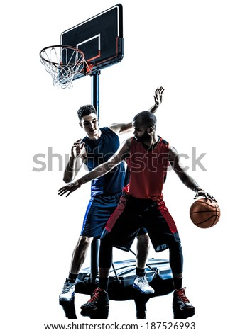 two men basketball players competition dribbling in silhouette isolated white background