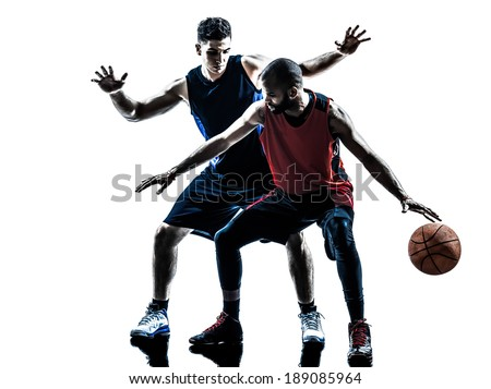 two men basketball players competition in silhouette isolated white background - stock photo