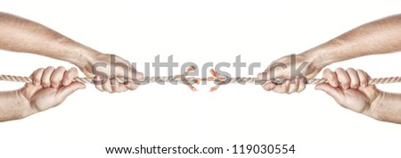 Two men break the rope hands competing. On a white background. - stock photo