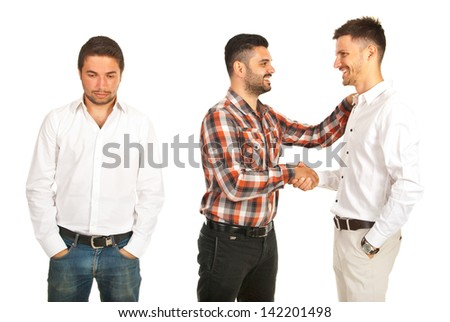Two men congratulate each other and being happy and one man it is disappointed isolated on white background - stock photo