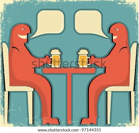 Two men drinking glasses of beer.Raster - stock photo