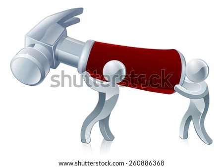 Two men holding a hammer ready to build or repair something - stock photo