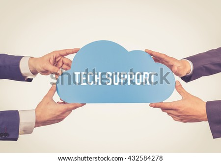 Two men holding cloud with Tech Support text - stock photo