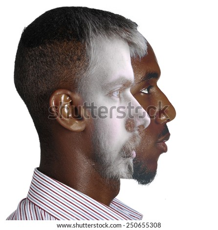 Two men in one head concept - stock photo