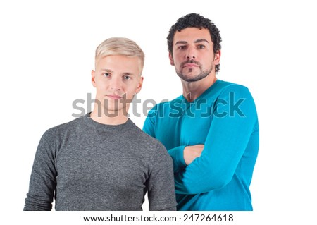 Two men portrait - stock photo