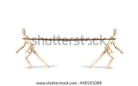 Two men pull a rope in different directions. Tug of war. Abstract image with wooden puppets - stock photo