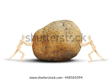 Two men push a huge stone to each other. Abstract image with wooden puppets - stock photo