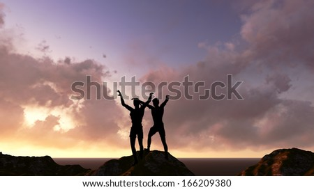 two men's silhouette with her hands raised in the sunset