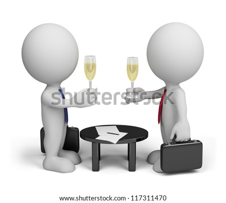 Two men signed a document. 3d image. Isolated white background. - stock photo