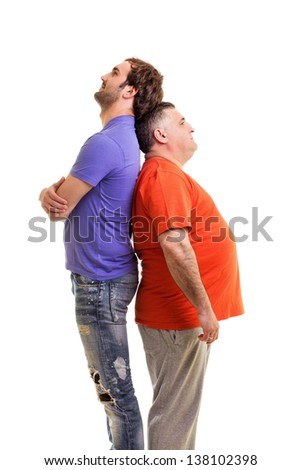 Two men standing back to back isolated on white background