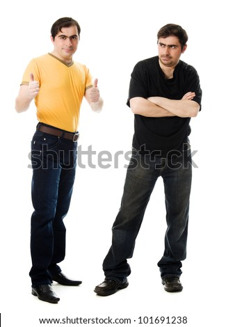 Two men with a happy and a sad on  white background. - stock photo