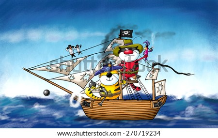 Two merry cats-pirates and their friend parrot giving a sea battle  - stock photo