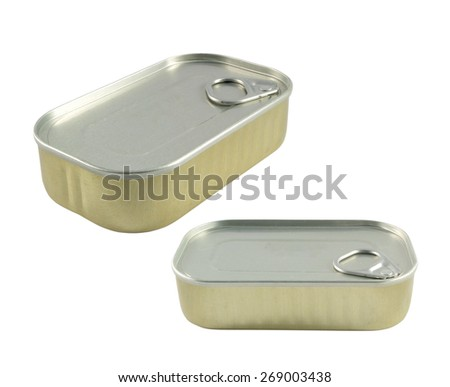 two metal cans on white