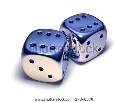 Two metal dice isolated on white - stock photo