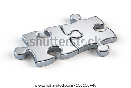 Two metal puzzle - partnership concept - stock photo