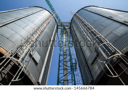 Two metal silo agriculture granary in Thailand