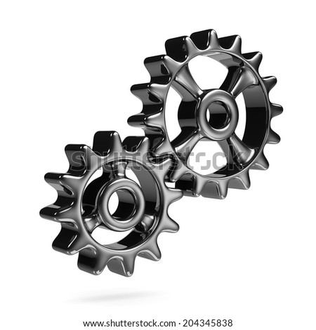 Two Metallic Cogwheels Engaged Isolated on White Background 3D Illustration