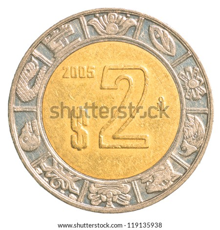 two mexican peso coin isolated on white background