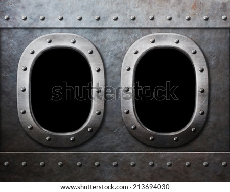 two military ship or submarine windows as steam punk metal background - stock photo