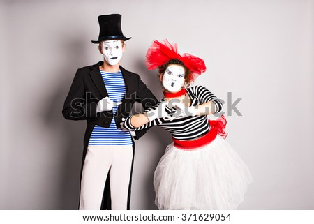 Two mime, pantomime heart, valentine day concept, April Fools Day concept - stock photo