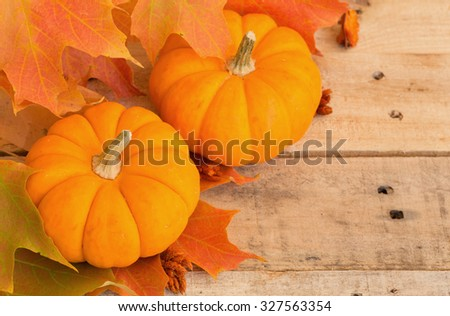 Two mini pumpkins and fall leaves on wood background - stock photo