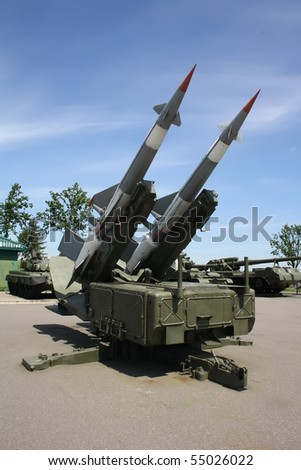 Two missiles launcher outdoors - stock photo