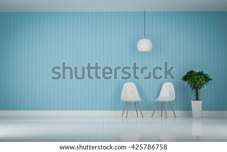 two modern chair in the living room wood floor 3d rendering - stock photo