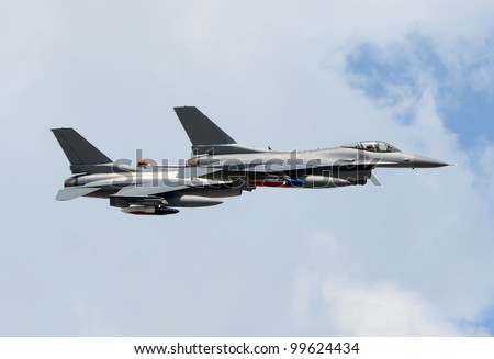 Two modern fighter jets at high altitude - stock photo