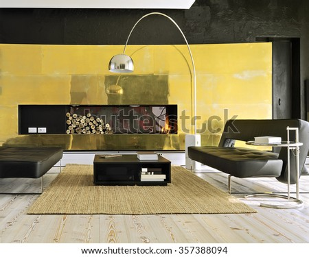 two modern leather sofa near to fireplace in the modern living room - stock photo