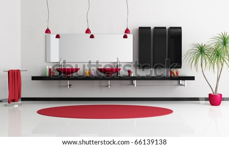 two modern red sink in a minimalist blackand white bathroom - rendering - stock photo