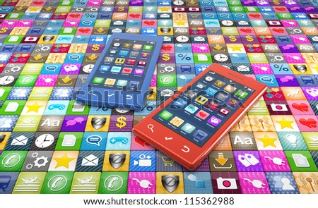 Two modern smartphone with a large number of app icons on the floor. Great concept for the giant amount of available apps for smartphones. - stock photo