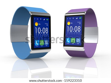 two modern smartwatch with straps in different color (3d render) - stock photo