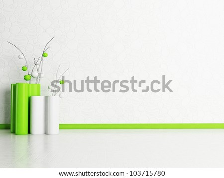 two modern vases in the room, rendering - stock photo
