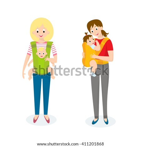 Two Mom with Baby in baby carrier. Motherhood illustration.  - stock photo