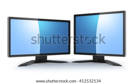 Two monitors 16:9 and 4:3 (done in 3d)  - stock photo