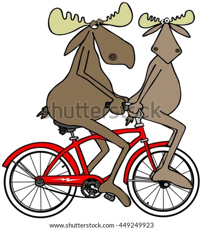 Two moose on a red bike