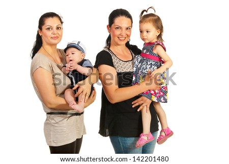Two mothers holding each a child isolated on white background - stock photo